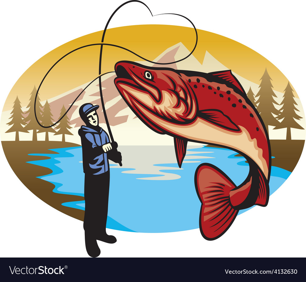 Fisherman catch the big fish vector | Price: 3 Credit (USD $3)