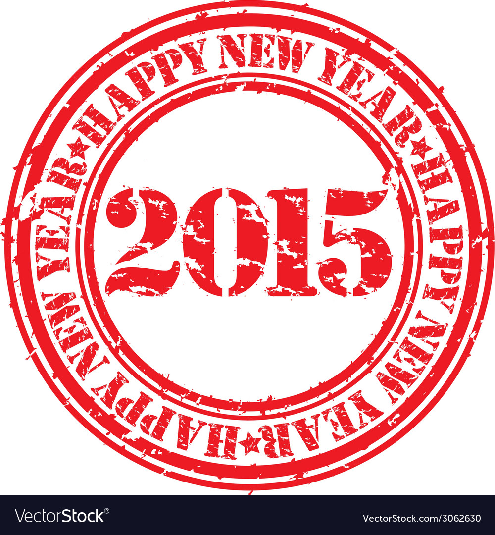 Happy new 2015 year grunge rubber stamp vector