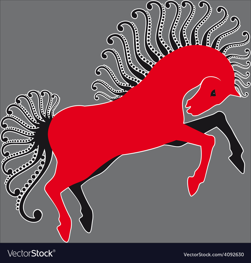 Horse red and grey vector | Price: 1 Credit (USD $1)