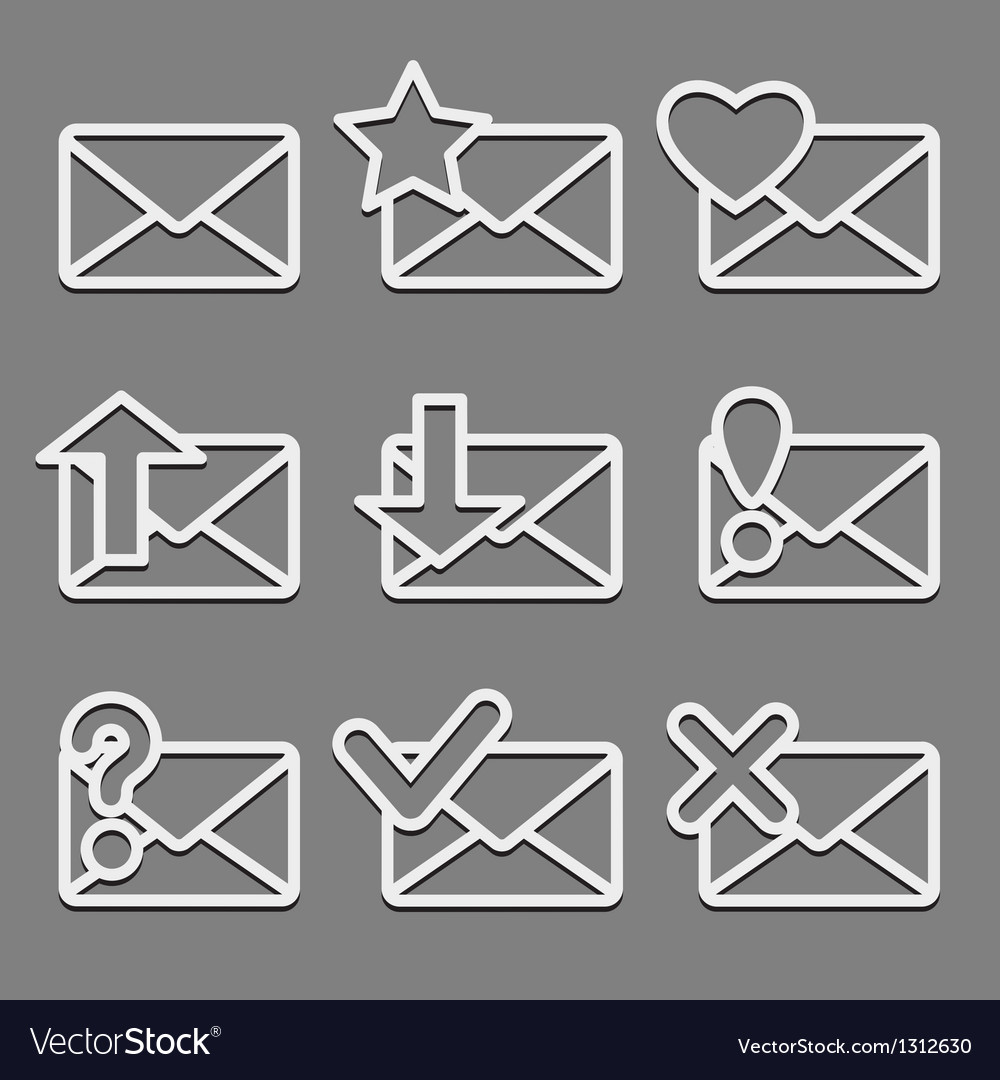 Mail envelope web icons set on dark background vector | Price: 1 Credit (USD $1)