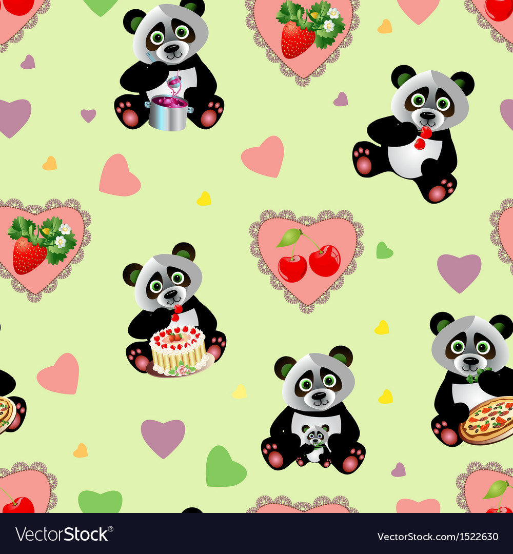 Panda sweet seamless vector | Price: 1 Credit (USD $1)