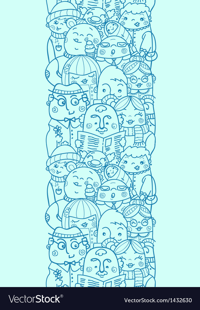People in a crowd vertical seamless pattern vector | Price: 1 Credit (USD $1)