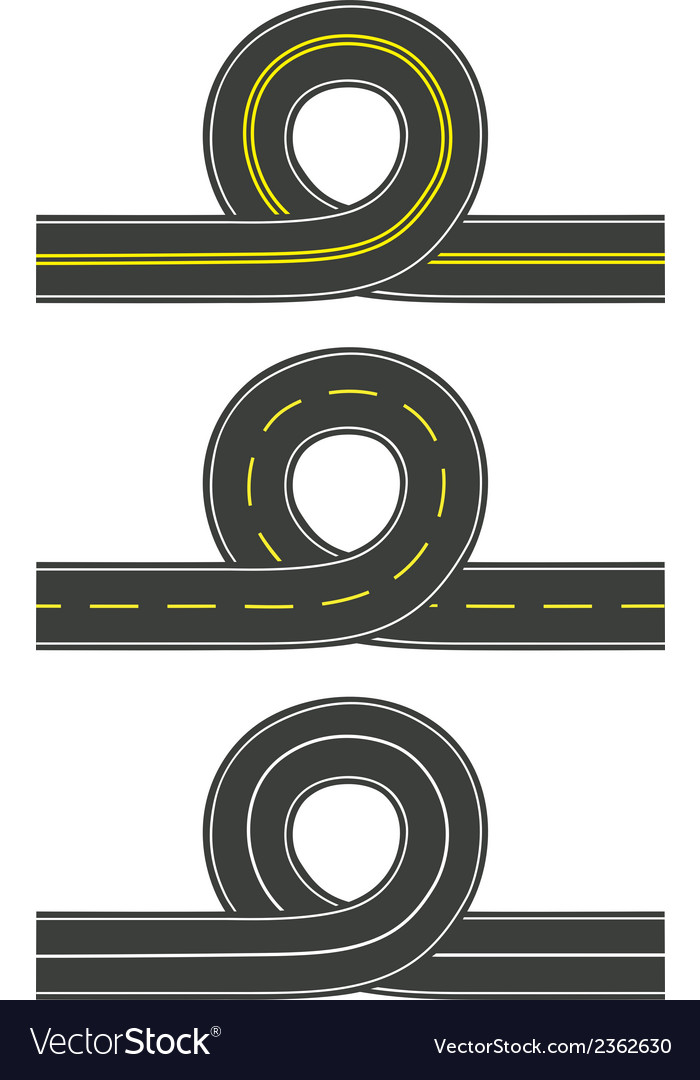 Set of roads with loop vector | Price: 1 Credit (USD $1)
