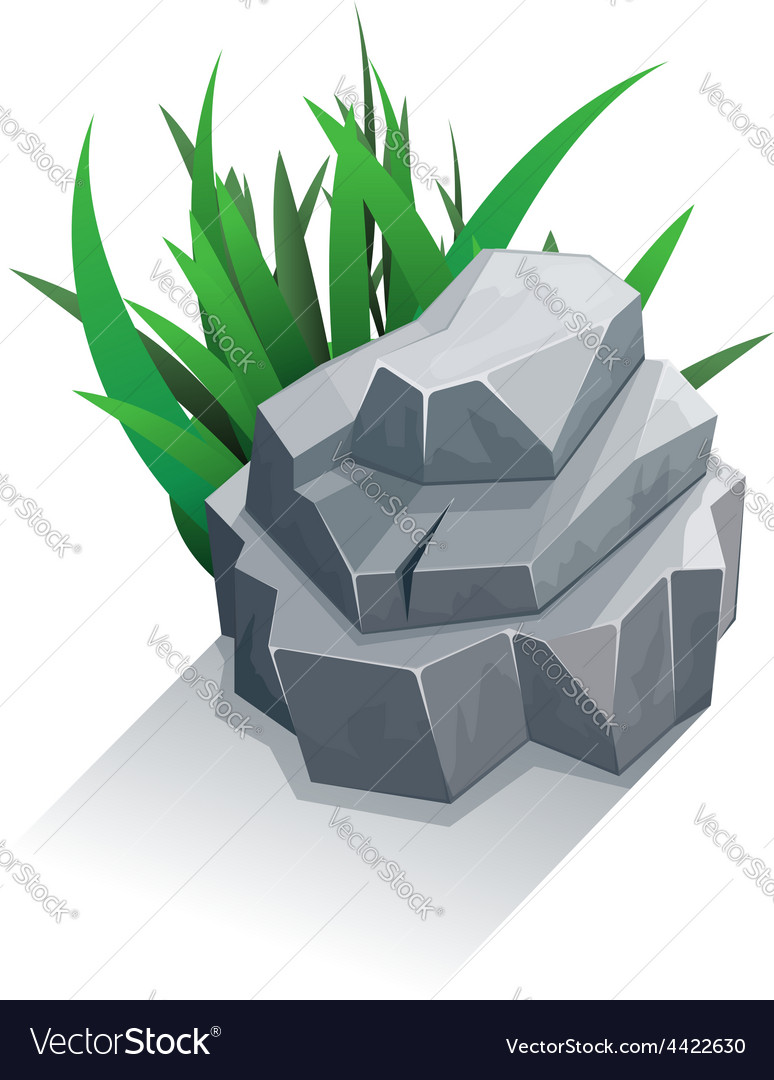 Single stone with grass vector | Price: 3 Credit (USD $3)