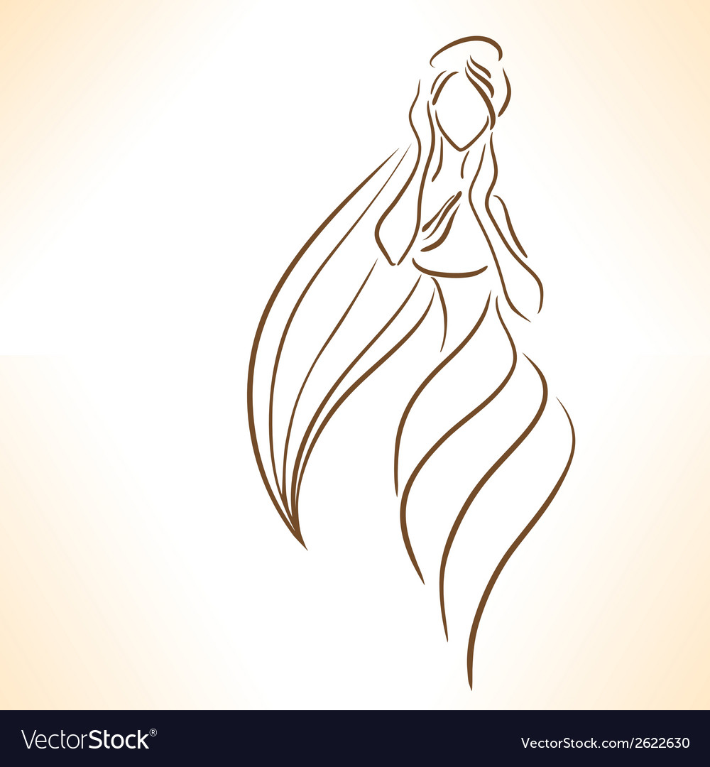Symbolic silhouette of woman vector | Price: 1 Credit (USD $1)