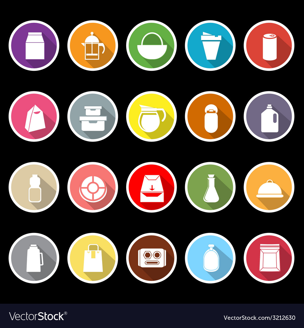 Variety food package flat icons with long shadow vector | Price: 1 Credit (USD $1)