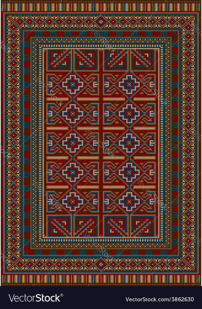 Vintage carpet decorated with geometric designs vector | Price: 1 Credit (USD $1)