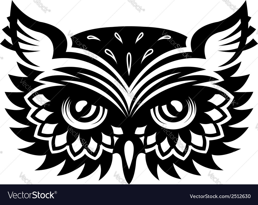 Wise old horned owl head vector | Price: 1 Credit (USD $1)