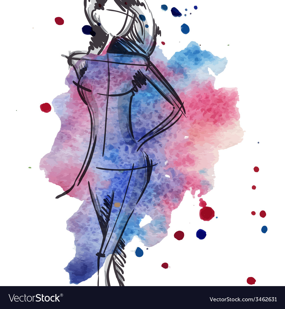Art background with beautiful young fashion woman vector | Price: 1 Credit (USD $1)