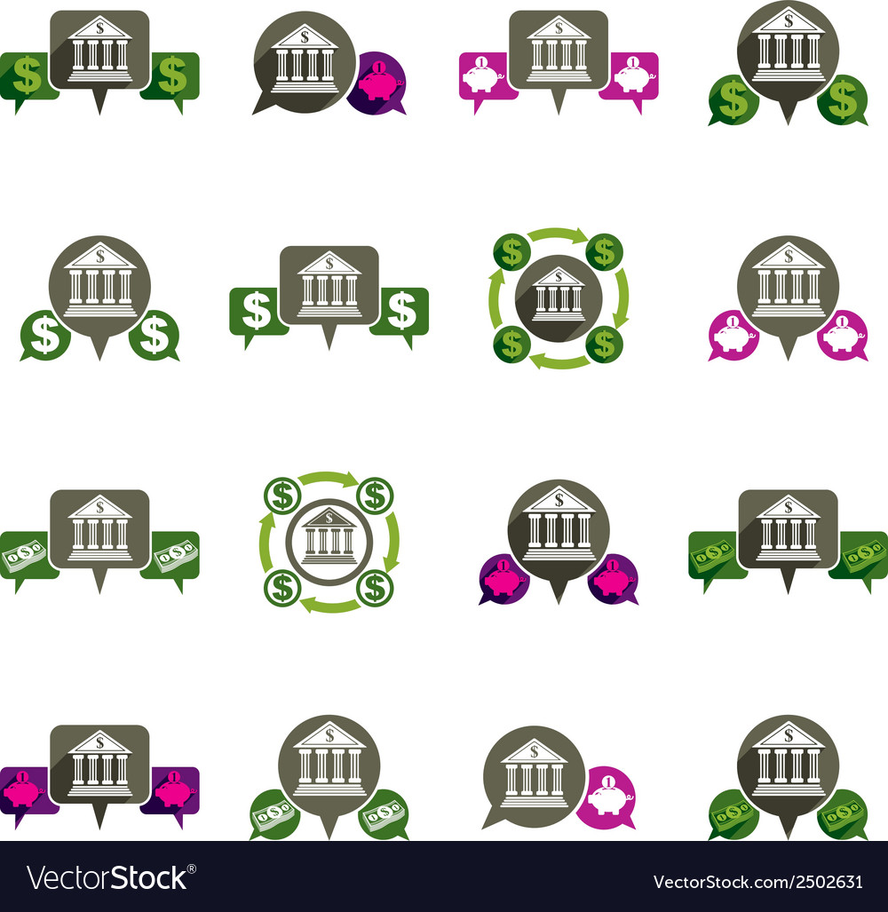Bank and money theme unusual icons set financial vector | Price: 1 Credit (USD $1)
