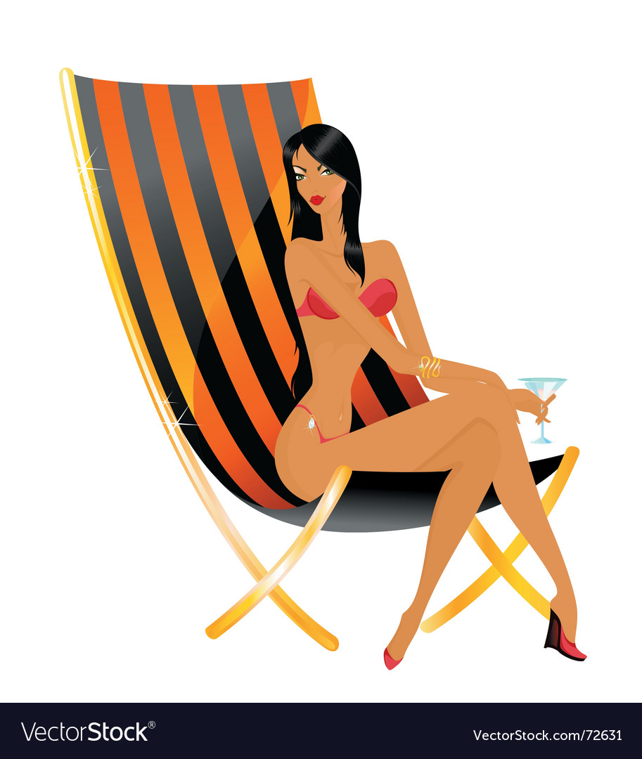 Beach babe relaxing vector | Price: 1 Credit (USD $1)