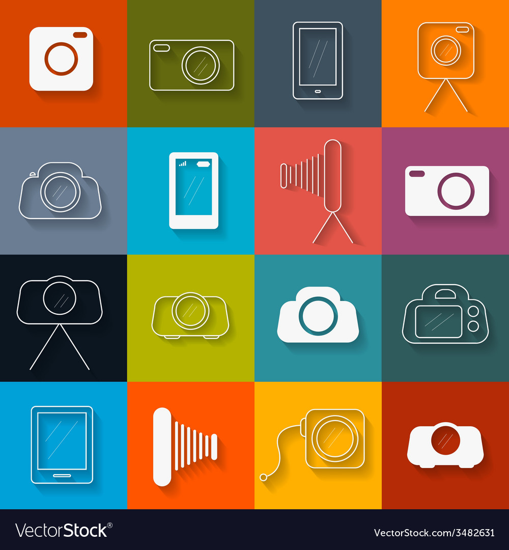 Flat design photography icons set vector | Price: 1 Credit (USD $1)