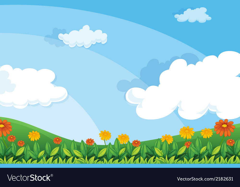 Flowers at the hillside vector | Price: 1 Credit (USD $1)