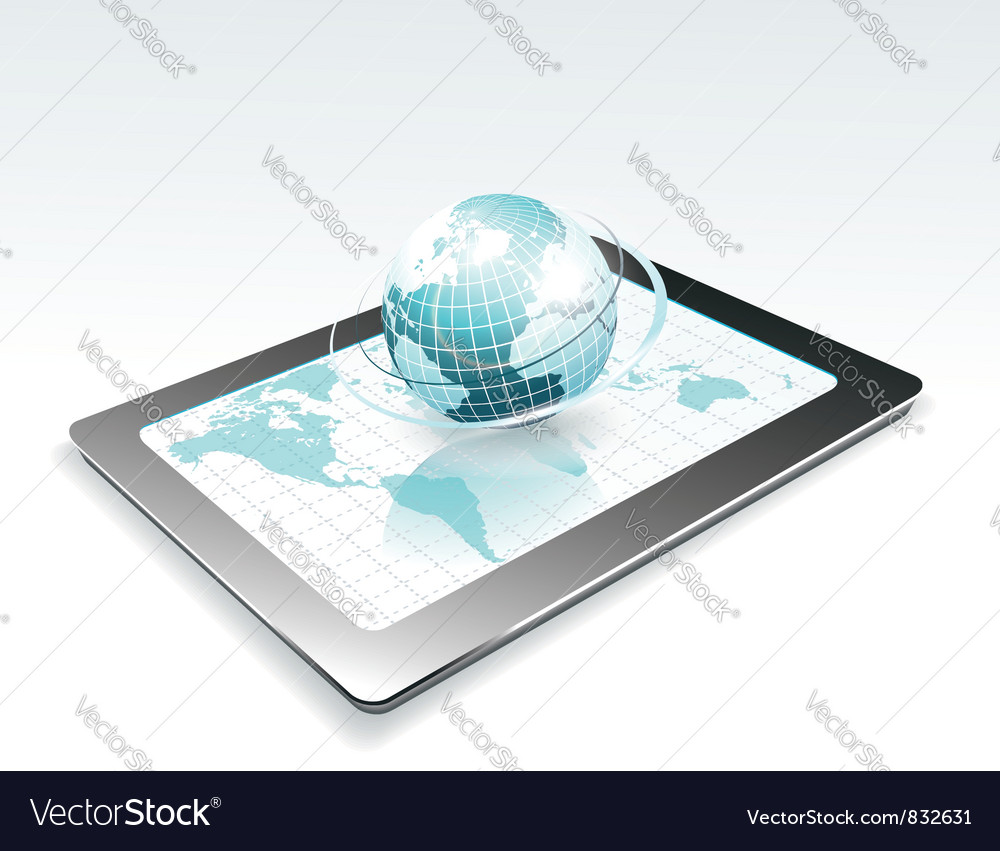 Generic tablet pc with globe vector | Price: 1 Credit (USD $1)