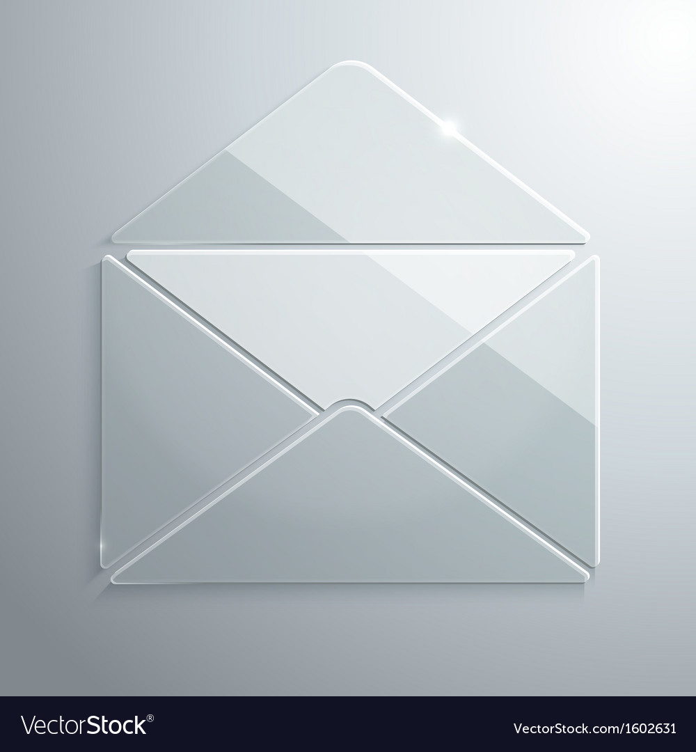 Glass icon of an open envelope vector | Price: 1 Credit (USD $1)