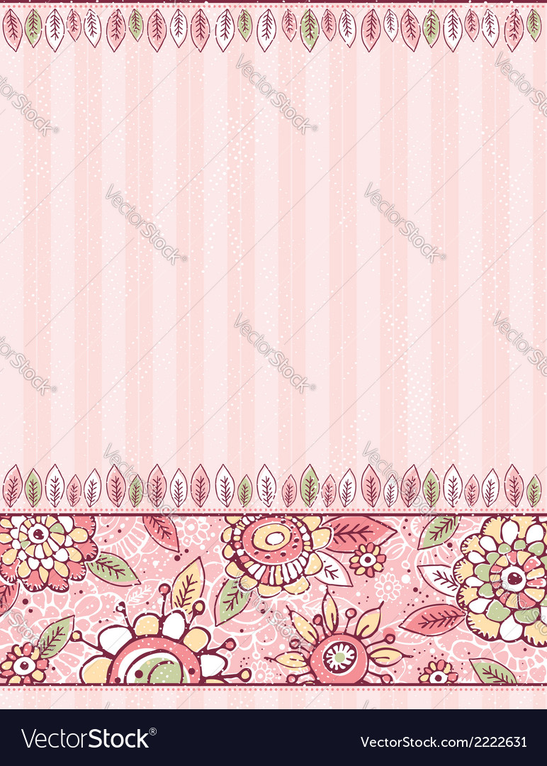 Hand draw flowers on stripeed pink background vector | Price: 1 Credit (USD $1)