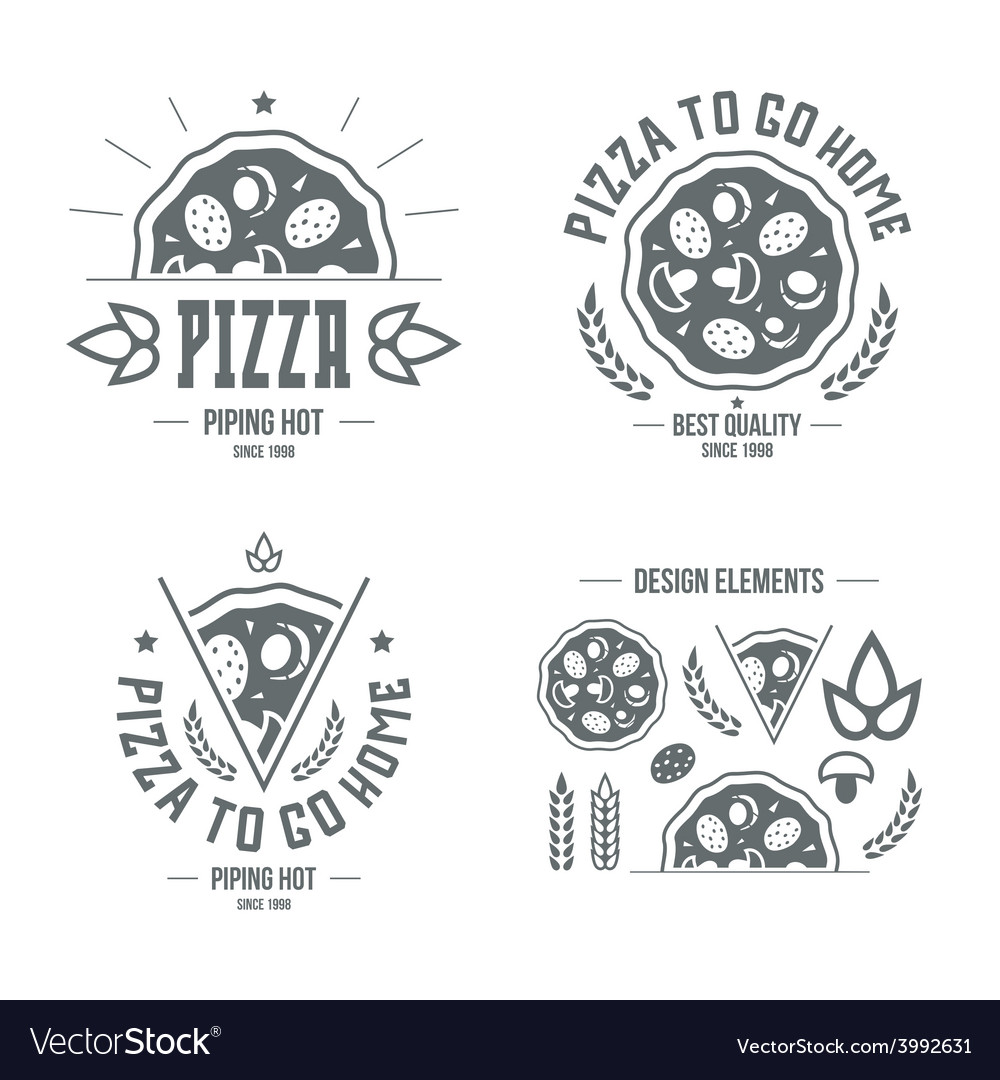 Pizzeria labels badges and design elements vector | Price: 1 Credit (USD $1)