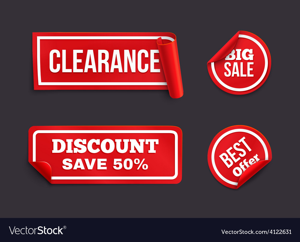 Red stickers with curled edge vector | Price: 1 Credit (USD $1)