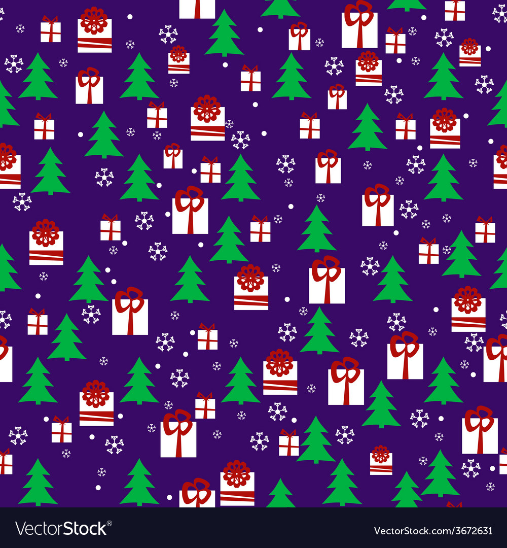 Seamless pattern with christmas night pines gift vector | Price: 1 Credit (USD $1)