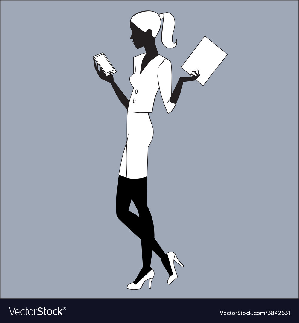 The secretary is looking at e-mail smartphone vector | Price: 1 Credit (USD $1)