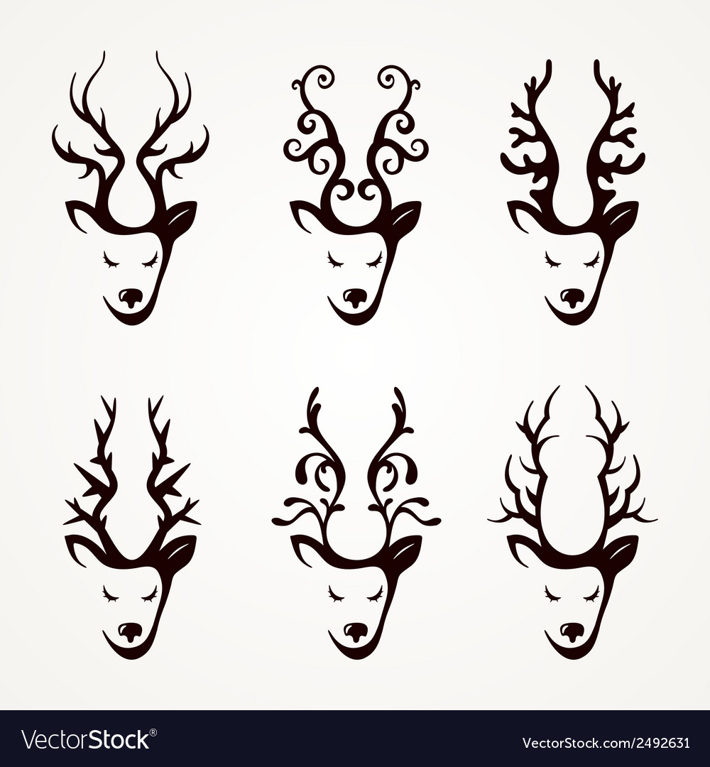 Set of beautiful abstract deer vector | Price: 1 Credit (USD $1)