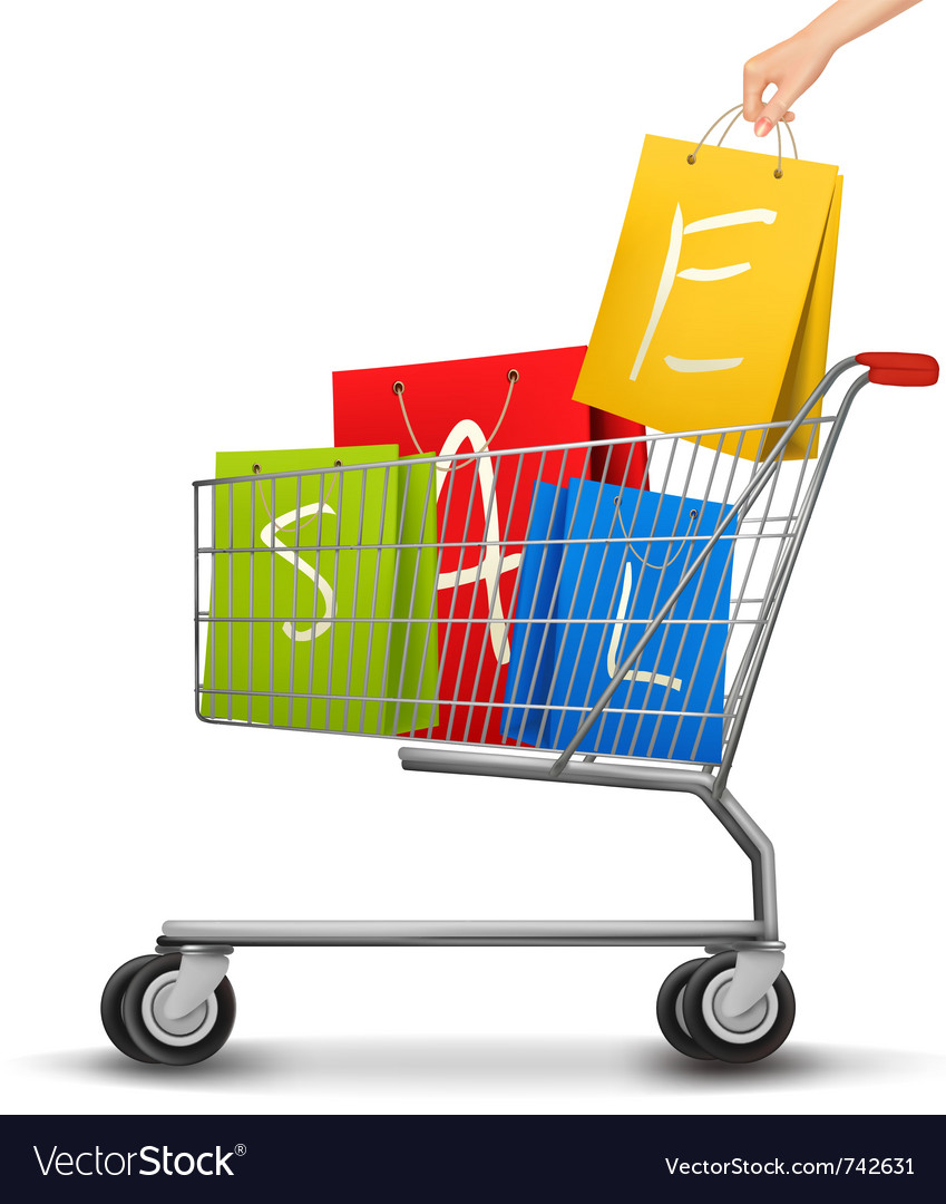 Shopping cart full of shopping bags with a sale vector | Price: 1 Credit (USD $1)