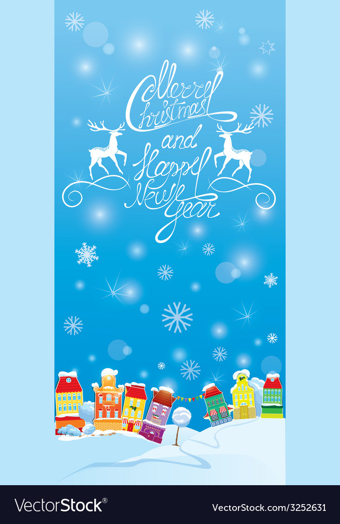 Winter holidays card with houses handwritten text vector | Price: 1 Credit (USD $1)