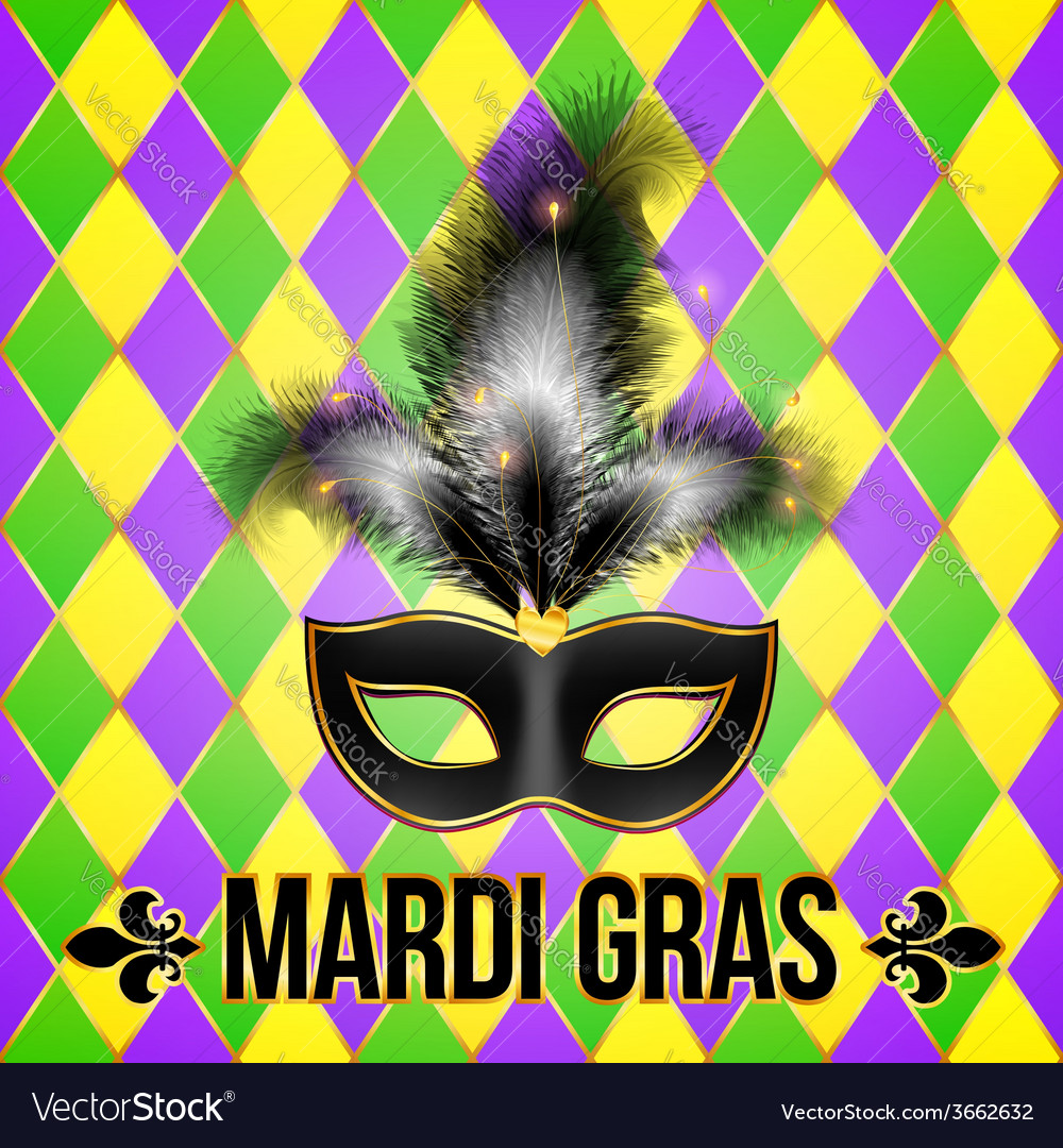 Black mardi gras mask with feathers on grid vector | Price: 1 Credit (USD $1)