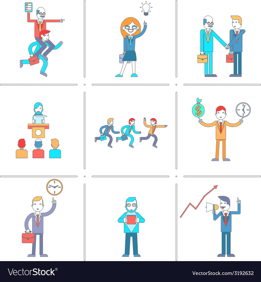 Businessman character line icons set vector | Price: 1 Credit (USD $1)