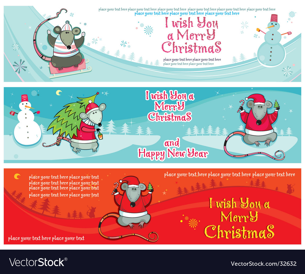 Christmas banners with santa rats vector