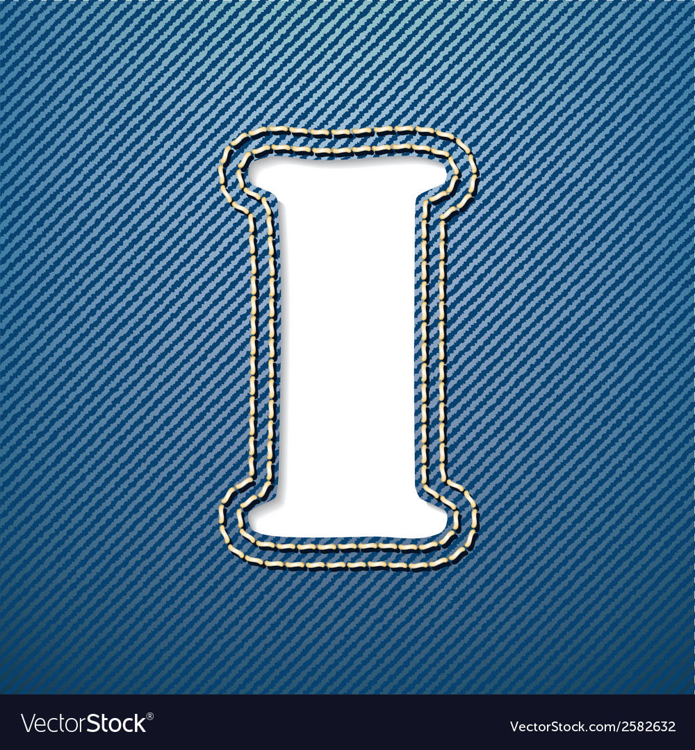 Denim jeans letter i vector | Price: 1 Credit (USD $1)