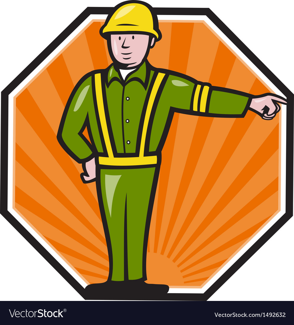 Emergency worker pointing side cartoon vector | Price: 1 Credit (USD $1)