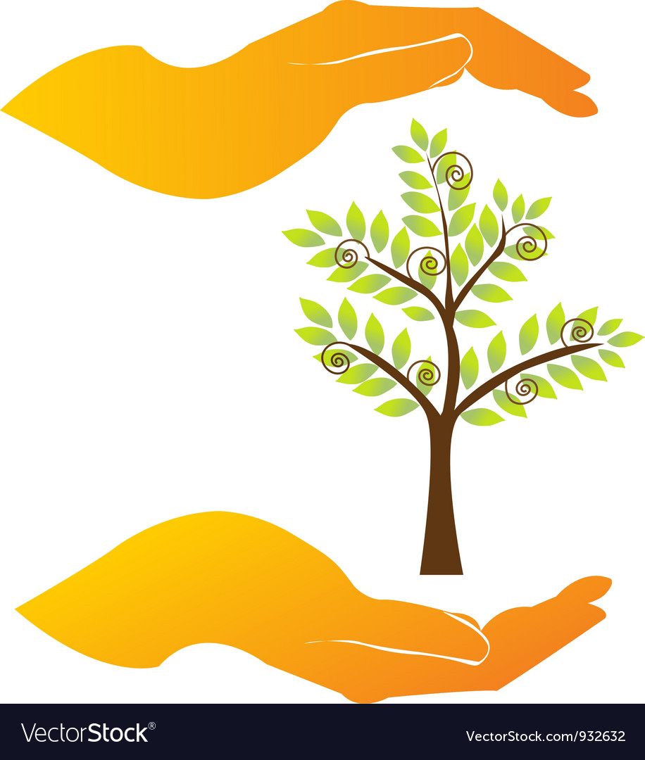 Hands care a tree vector | Price: 1 Credit (USD $1)
