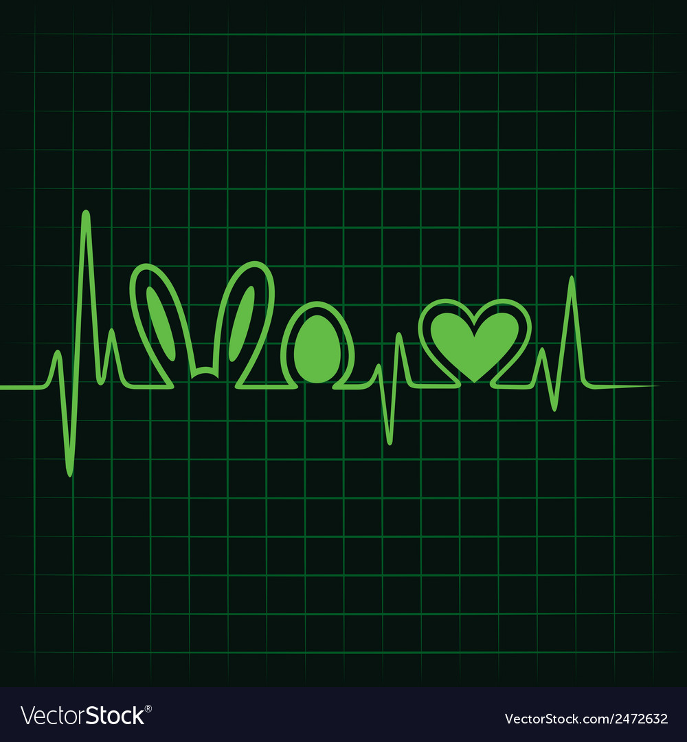Heartbeat make easter symbol and heart stock vect vector | Price: 1 Credit (USD $1)