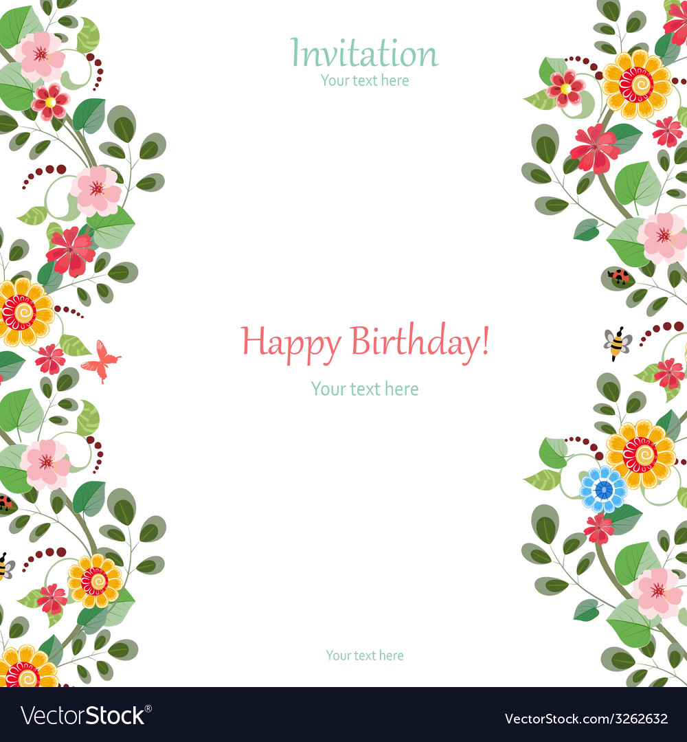 Invitation card with cute flowers for your design vector | Price: 1 Credit (USD $1)