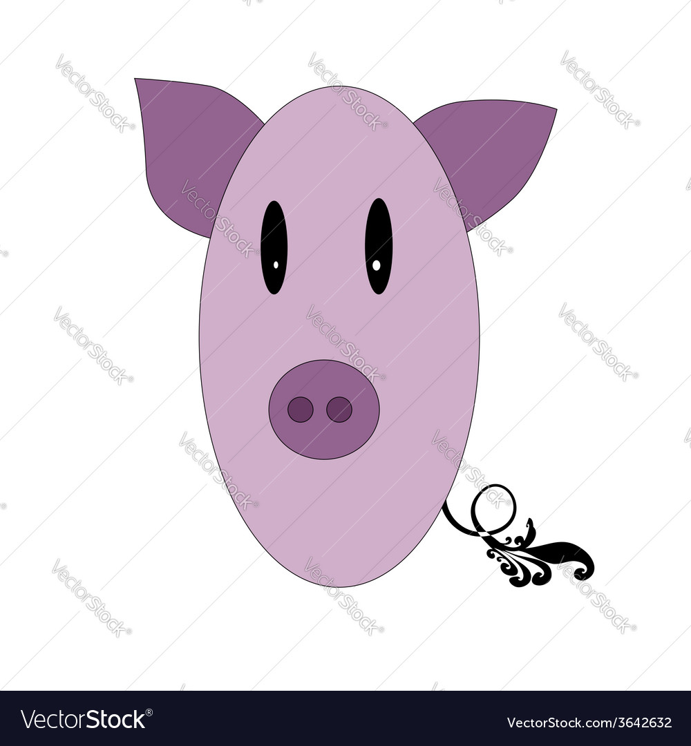 Little funny pig pink color vector | Price: 1 Credit (USD $1)