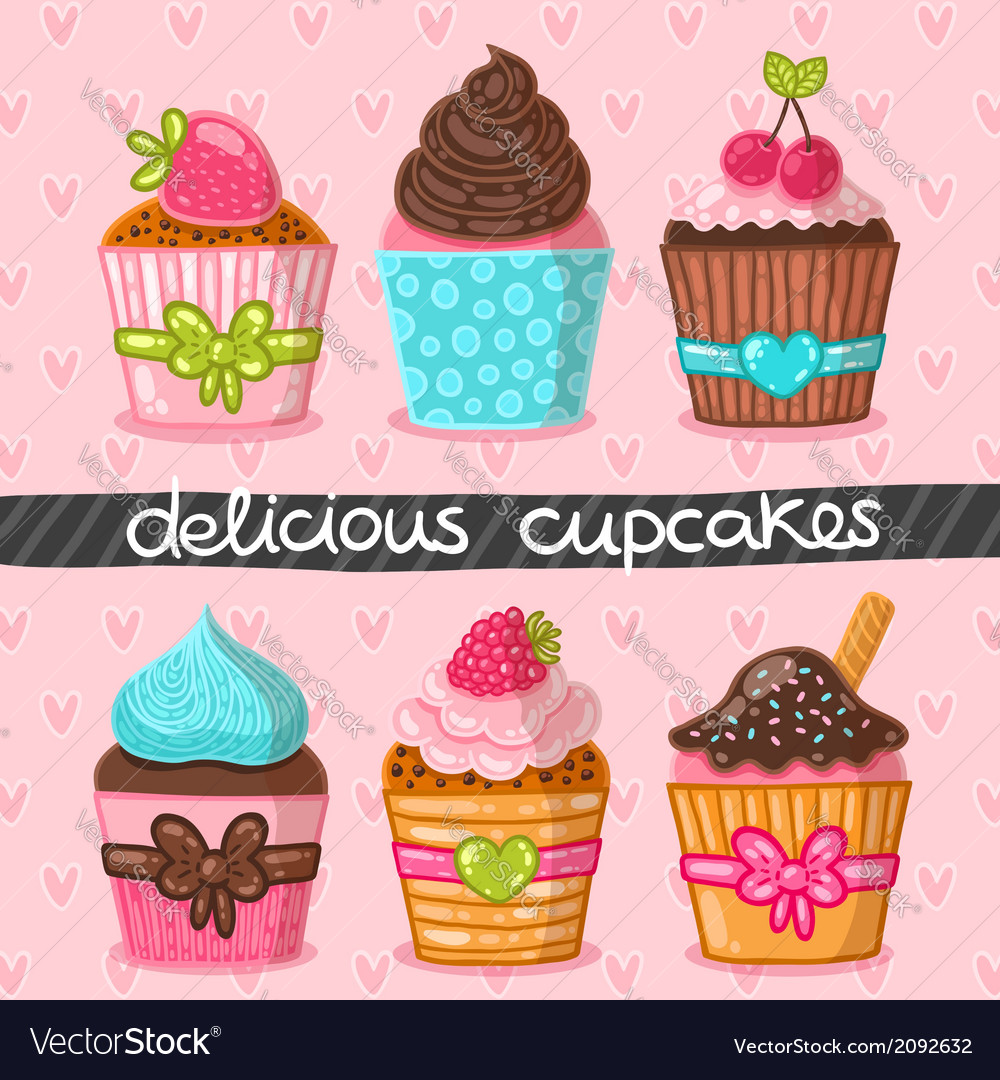 Muffin set cupcake set vector | Price: 1 Credit (USD $1)