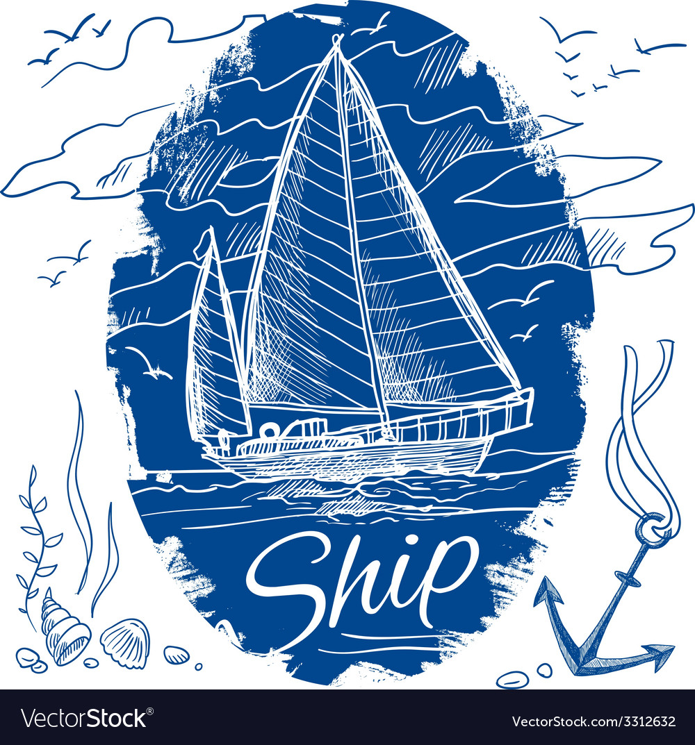 Nautical emblem with ship vector | Price: 1 Credit (USD $1)