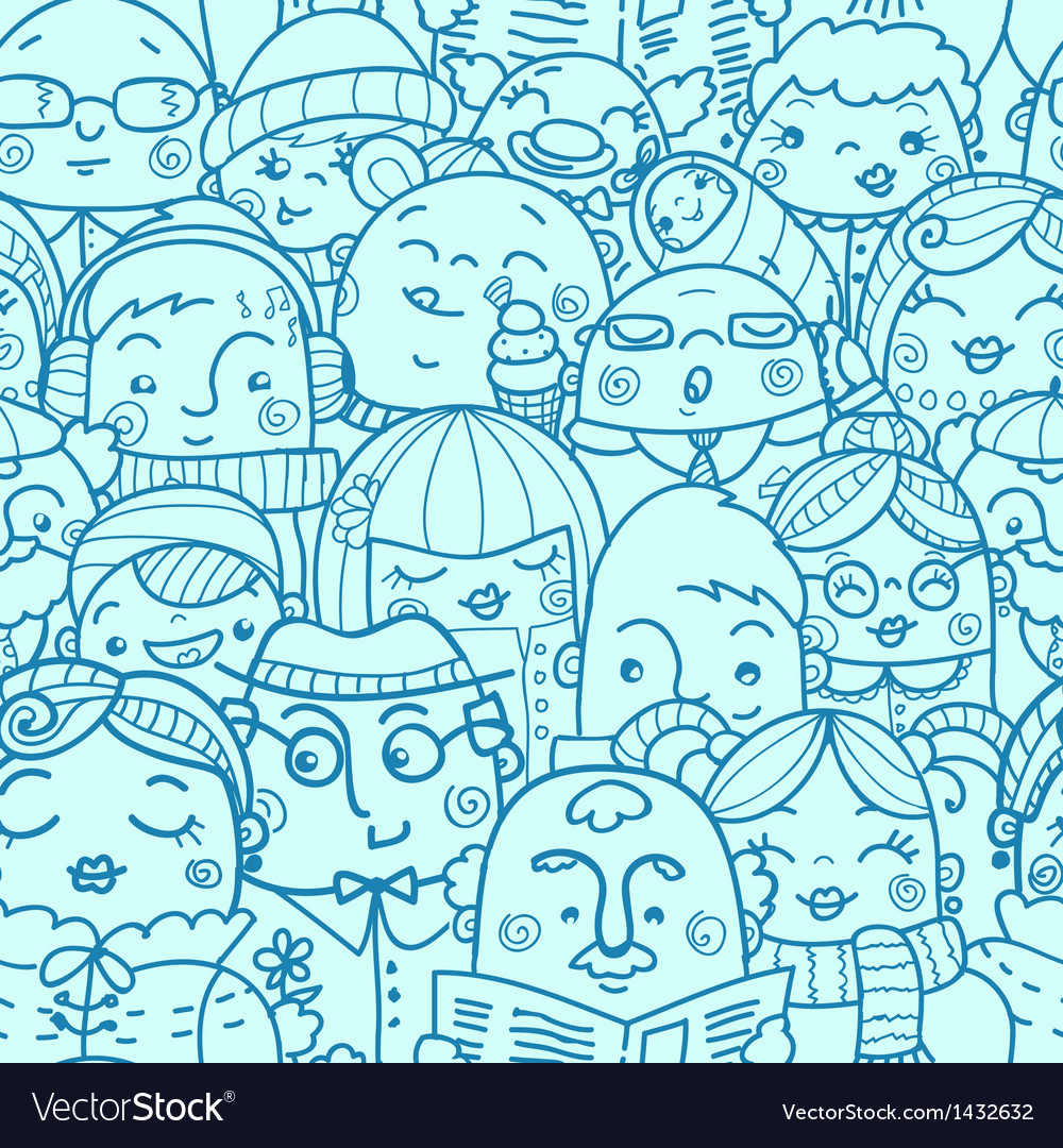 People in a crowd seamless pattern background vector | Price: 1 Credit (USD $1)