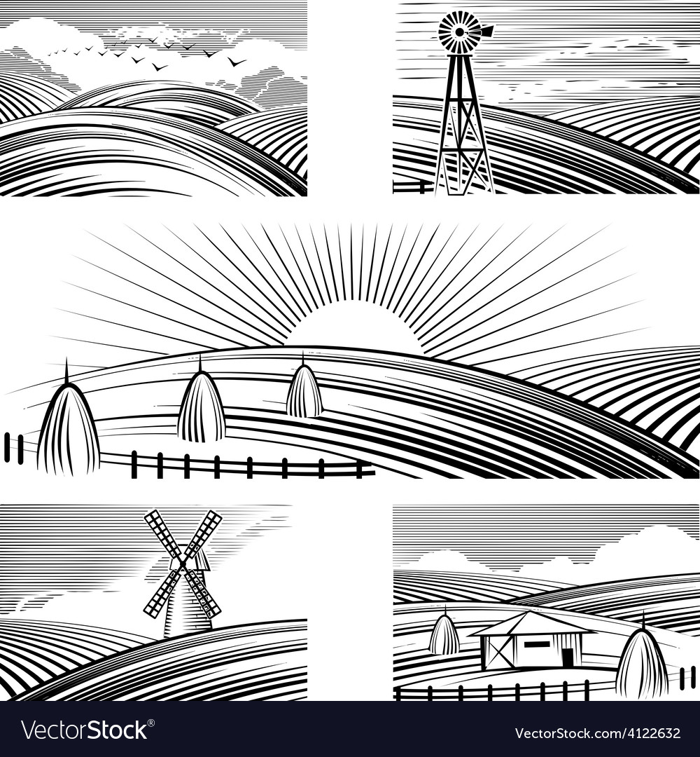 Retro rural landscapes vector | Price: 3 Credit (USD $3)
