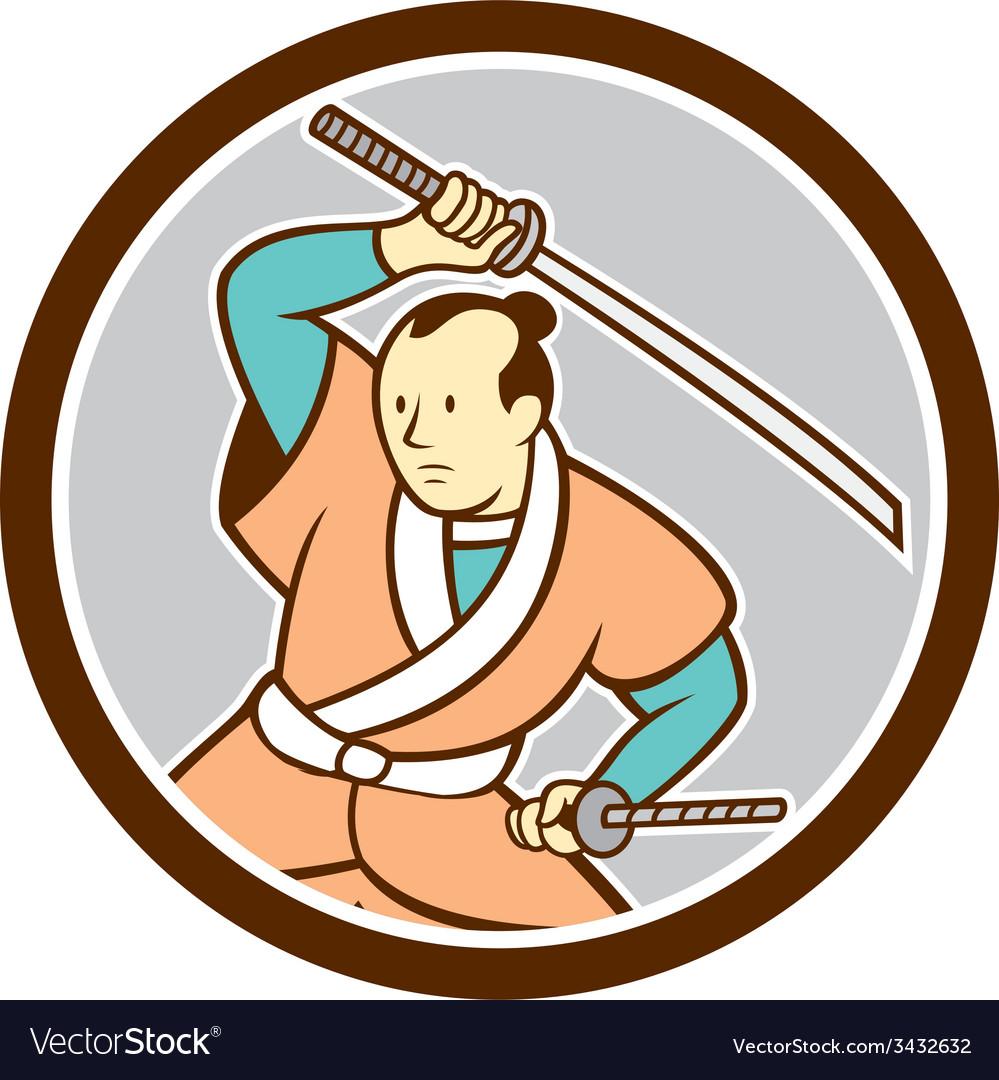 Samurai warrior katana sword circle cartoon vector | Price: 1 Credit (USD $1)