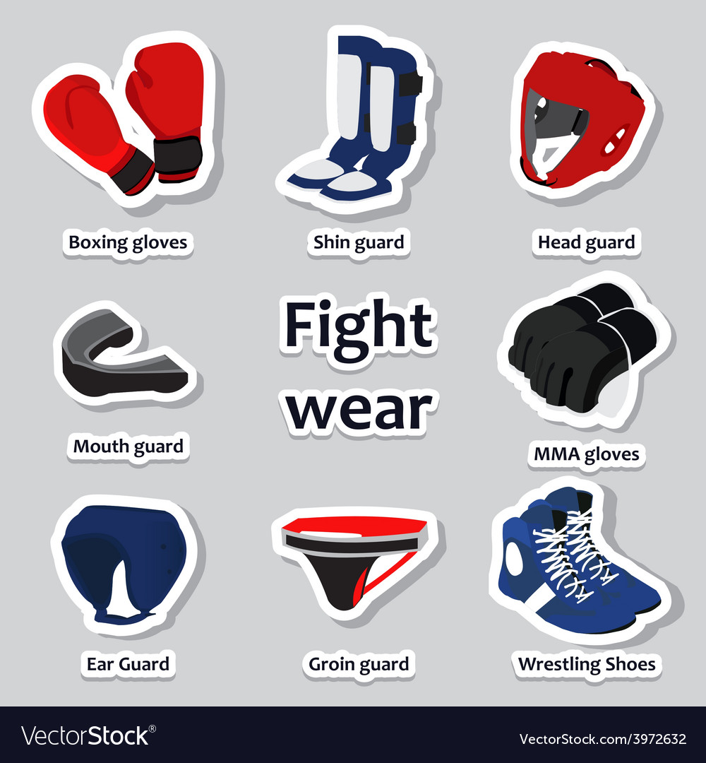 Set of sport equipment for martial arts vector | Price: 1 Credit (USD $1)