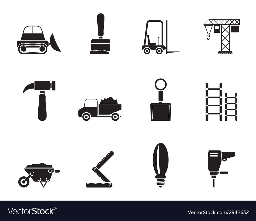 Silhouette building and construction equipment vector | Price: 1 Credit (USD $1)