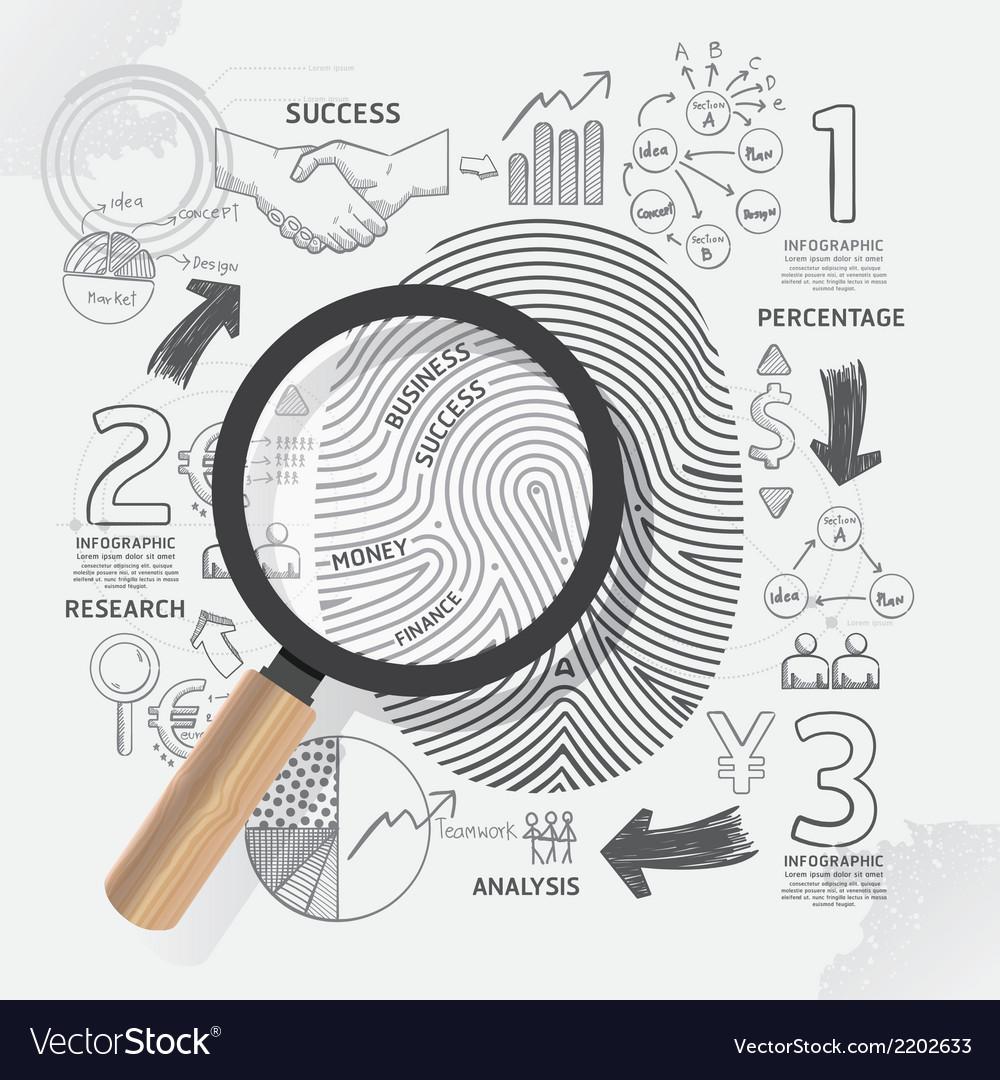 Business fingerprint doodles line drawing success vector | Price: 1 Credit (USD $1)