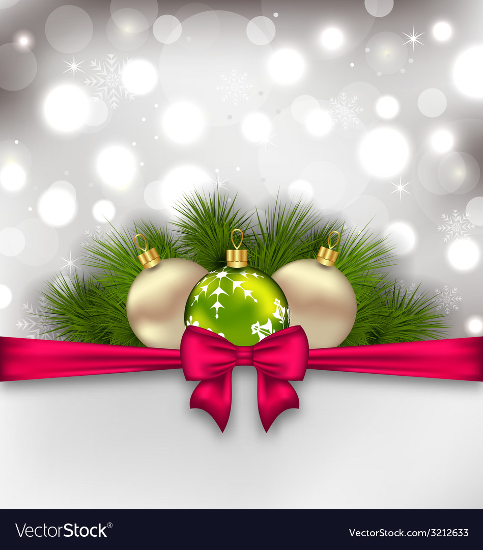 Christmas glowing card with fir branches and glass vector | Price: 1 Credit (USD $1)
