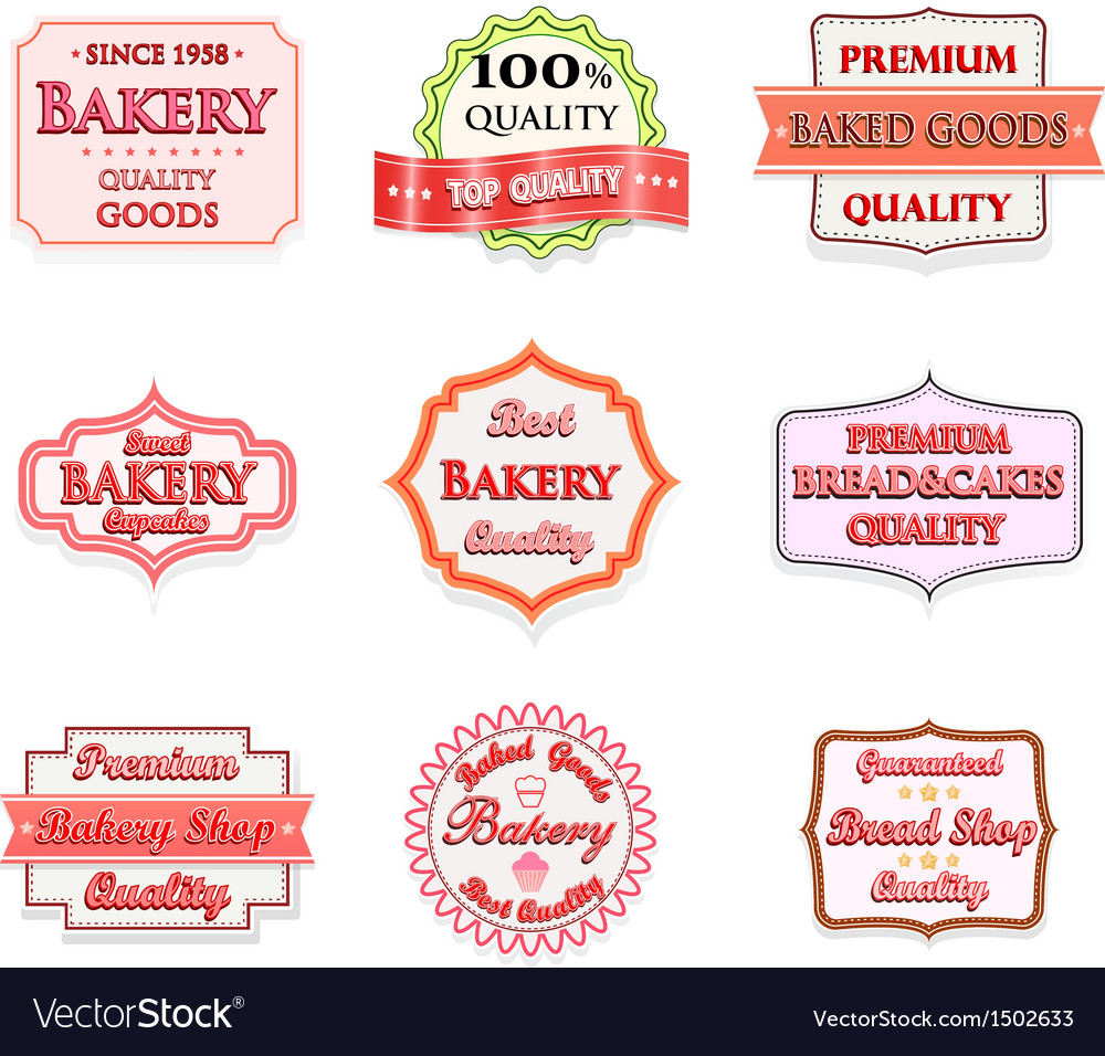 Collection of vintage bakery logo badges vector | Price: 1 Credit (USD $1)
