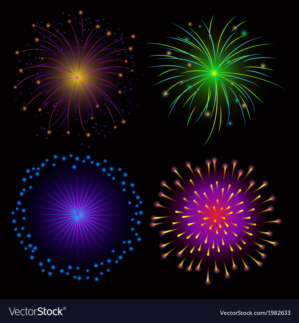 Colorful fireworks on dark background vector | Price: 1 Credit (USD $1)