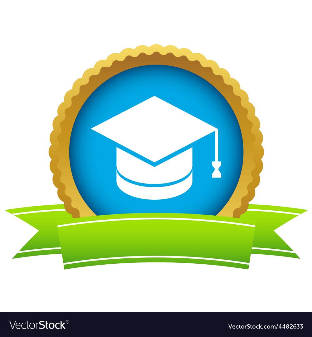 Gold graduate cap logo vector | Price: 1 Credit (USD $1)