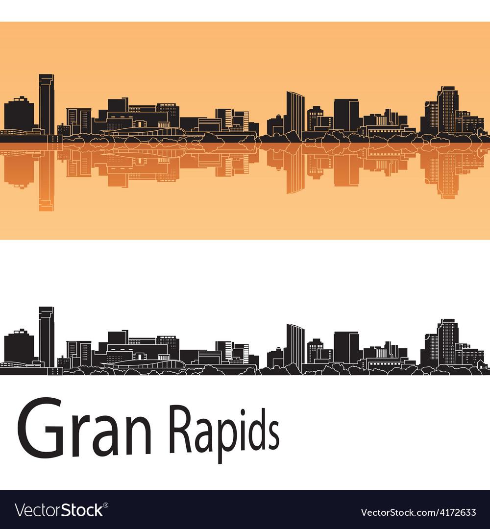 Grand rapids skyline in orange background vector | Price: 1 Credit (USD $1)