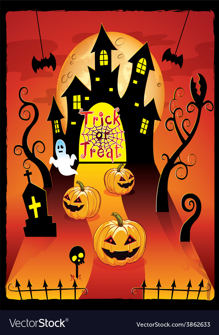 Halloween cover design with pumpkin vector | Price: 1 Credit (USD $1)